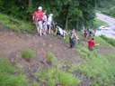 Crowds can accumulate on the descents