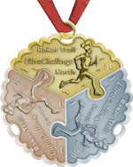 Baker Trail UltraChallenge medal: a separate piece for each section